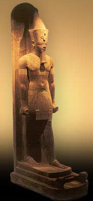 This red-quartzite statue of Amenhotep III is by far the finest one found in the cache of statues in the Sun Court