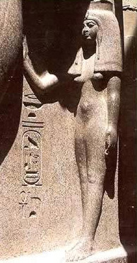 Nefatari rests her hand affectionately on Ramesses II's leg