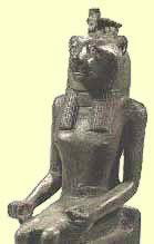A statue of the lion-headed Maahes