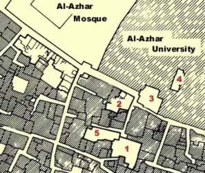 1 Harrawi House, 2. Al Ayni Mosque, 3. Zeinab Khakoun House, 4. Ghanimiyya Hall and 5. Sitt Wasila House.