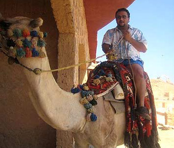 The author, Seif Kamel, not looking altogether confident on his camel