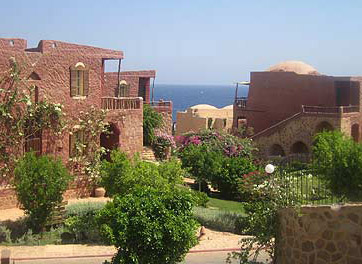 The gardens of the Kahramana Resort in Marsa Alam, Egypt