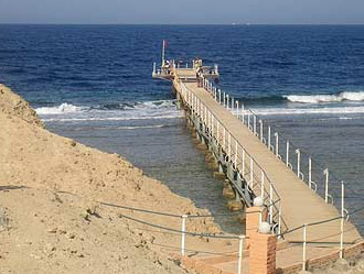 The long pier at Marsa Alam on The Red Sea