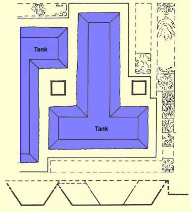 Detailed plan and section  of parts of the tanks in the water court