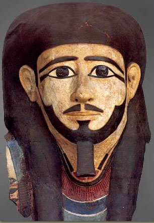 A funerary mask from the Middle Kingdom, made of stuccoed and painted linen