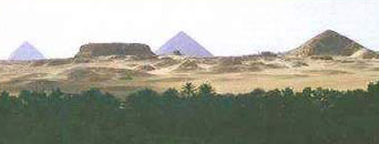 Shepseskaf's Mastaba tomb with the Dahshur Pyramids in the background