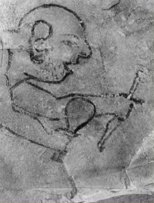 An Ostracon (simple depiction on rock) recording the cutting of stone