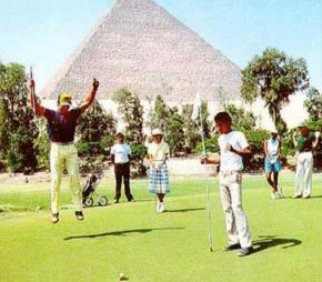 Golfing at the Mena House next to the Great Pyramid