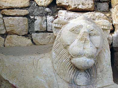 A lion gaurds the temple of Medinet Madi in the Fayoum of Egypt