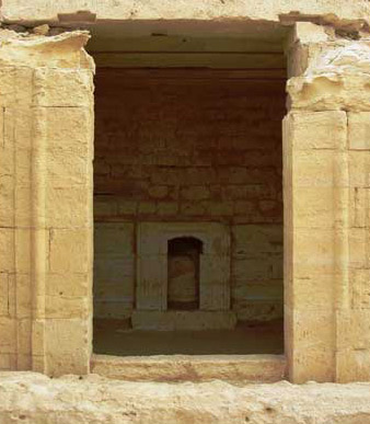 The central sanctuary with the altar in the Ptolemaic Temple at Medinetmadi in the Egyptian Fayoum
