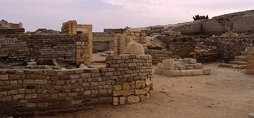 An overview of some of the ruins at Medinet Madi in the Fayoum of Egypt