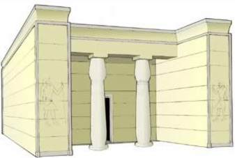 Drawing of the oldest part of the temple dedicated to Renenutet at old Narmouthis