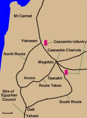 Map of the route to Megiddo