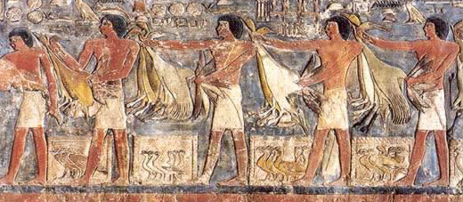 Offering bearers with geese and storks for Mehu