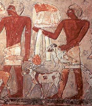 Offering bearers with dogs in the tomb of Mehu at Saqqara