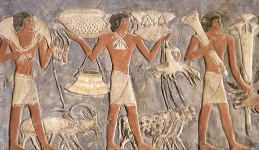 Offering bearers with gazelles, an ibex, an oryx and various other items including fruit