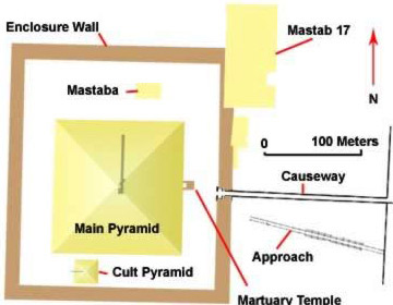 Ground Plan of the Meidum Pyramid in Egypt
