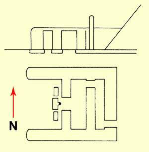 Ground Plan and side drawing of the small mortuary temple at the Meidum Pyramid
