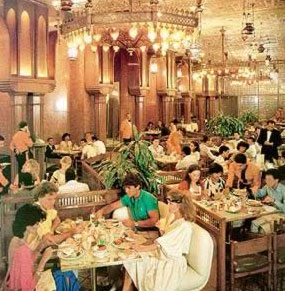 Mena casino include finest food and wine beautiful antique brass Islamic lamps.