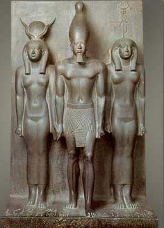 Menkaure, with Hathor on his right, and a nome figure on his left