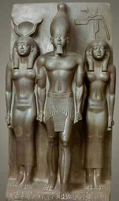 Menkaure with Hathor on his right and a nome figure on his left
