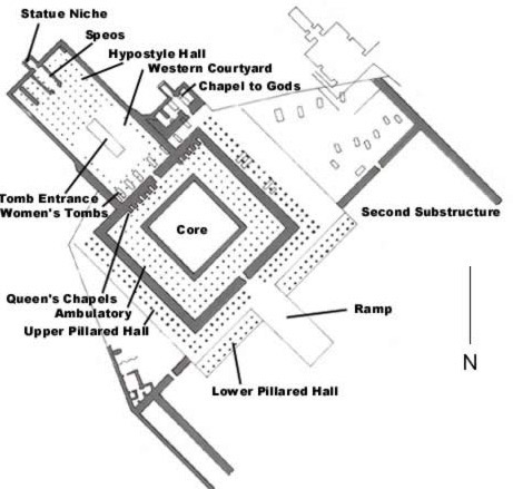 Ground Plan of the Mortuary Temple Complex of Mentuhotep II on the West Bank at Luxor (ancient Thebes) in Egypt