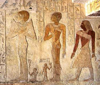 Depiction of Hetepheres, Meresankh III, and her son Nebemakhet on the west wall of the main room