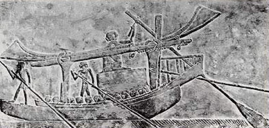 A cargo boat with its sale furled carrying a huge block of stone from a limestone relief in the tomb of Ipi at Saqqara and dating to the 6th Dynasty