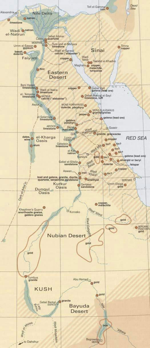 A map of Mines, Quarries and other Resources in Anceint Egypt