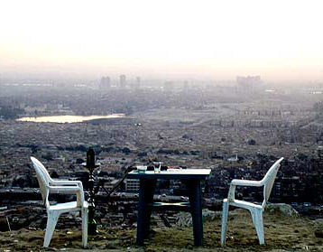 A table with a view on top of Mokattam Mountain