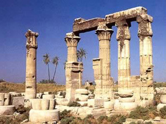 Columns of different types at the Ptolemy VII temple of Montu at Medamud