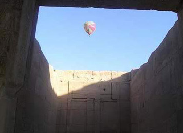 A baloon floats over the Temple of Seti I at Luxor