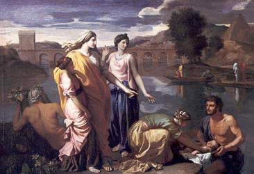 A painting by Nicolas Poussin depicting Moses' rescue from the Nile River
