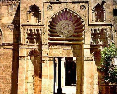 Facade of the El-Aqmar Mosque in Egypt