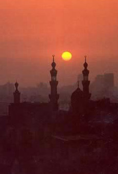 Mosques in the Evening at Cairo in Egypt