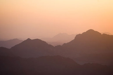 A view of the mountains from the top of Mount Sinai at sunrise