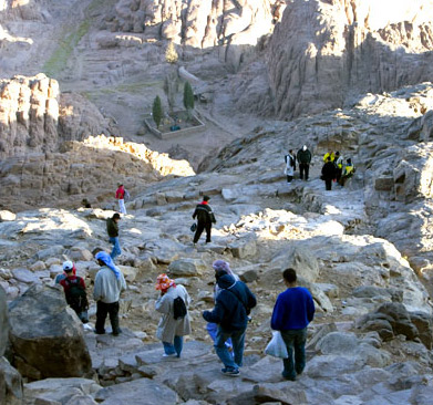 The Stairway leading down to Elijah's Basin on Mount Musa