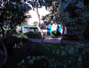 A view through the gardens of one of the bungalows at the Movenpick Pyramids Hotel in Cairo