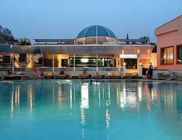 The Main Swimming Pool at the Movenpick Pyramids in Cairo, Egypt