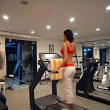 The workout room at the Movenpick Pyramids in Cairo, Egypt