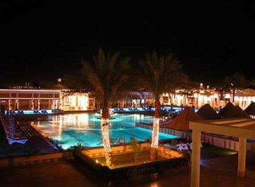 The main pool area of the Movenpick Sharm el-Sheikh Resort and Casino at night