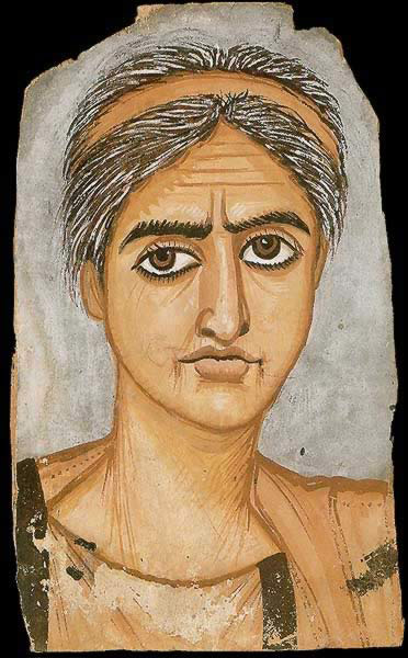 Funerary Portrait Painting of an Older Woman from the Roman Period