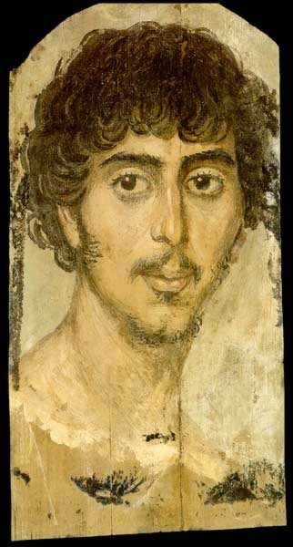Funerary Portrait Painting of a Young Man from the Roman Period