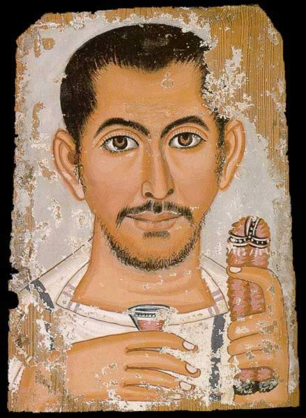 Funerary Portrait Painting of a Man from the Roman Period. This portrait date from the third to the fourth centuries AD. The narrow stripes on the man's tunic identify his rank as equestrian, and he holds a glass of red wine and a rose petal wreath.