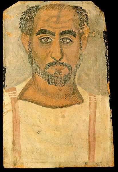 Funerary Portrait Painting of an Older Man from the Roman Period