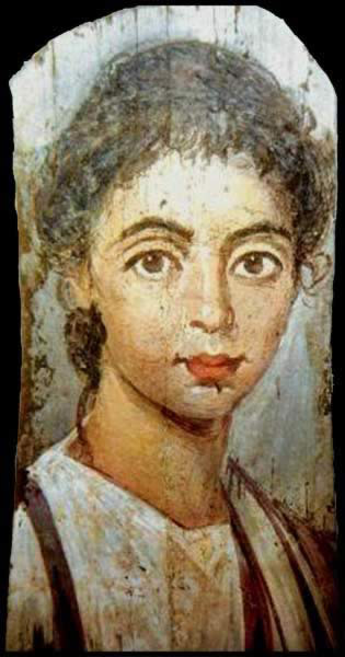 Panel portrait of a girl, early 3rd century (Berlin: Stadliches Museum). Expressionist techniques, such as the girl's large eyes, and the use of the encaustic technique convey an inner spiritual life.