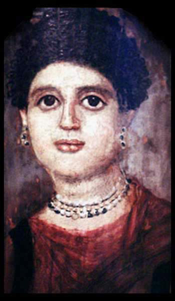 Funerary Portrait Painting of a Young Woman from the Roman Period. She wear exceptionally costly pearls and her hairstyle dates her to the period of the Flavian emperors.