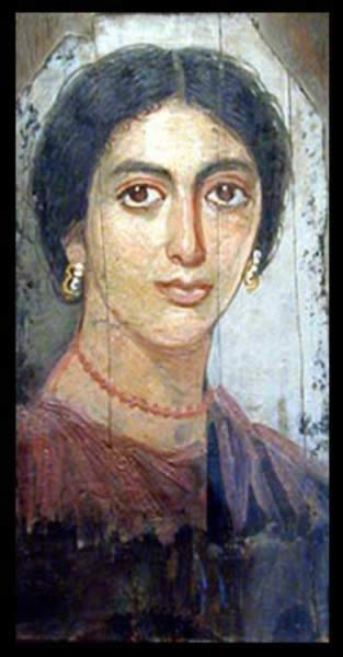 Funerary Portrait Painting of a Woman from the Roman Period dating to the 2nd Century AD