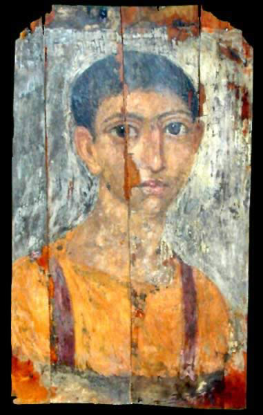 Funerary Portrait Painting of a Child from the Roman Period