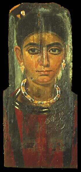 Encalistic Wax Painting on Wood with stucco and old leaf of a young woman, probably from Antinoopolis, and dating between 130-161 AD